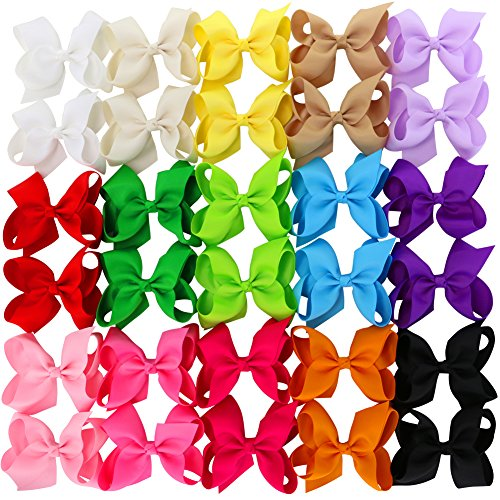 ab1ff9d58cc94 4.5 Inch Hair Bows Grosgrain Ribbon Boutique Hair Bow Clips For Girls Teens  Toddlers Kids Set Of 30 (15 Colors 2)