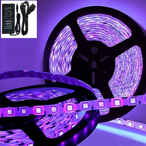 Deep Dream UV Black Light Led Strip 16.4Ft 5050 300LEDs Flexible Waterproof IP65 Blacklight Night Fishing Sterilization implicitly Party with 12V 5A Power (Buy Black Light Paint)