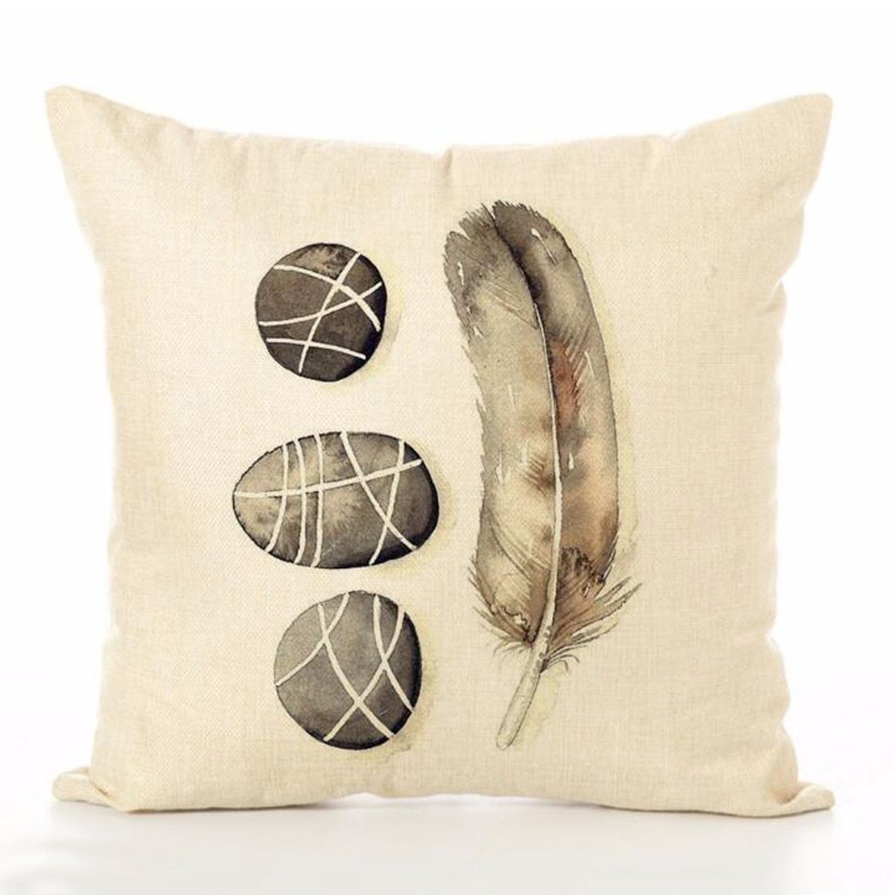 Cotton Linen Throw Pillow Case U-LOVE Feathers Print Square Cushion Cover 18 X 18 Inch Pillow ,4 pack by U-LOVE (Image #4)