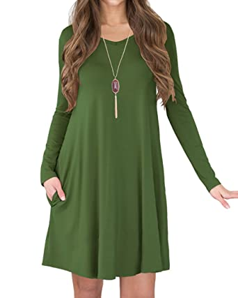 LILBETTER Women's Long Sleeve Casual Loose T-Shirt Dress (Army Green ...