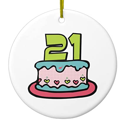Zazzle 21 Year Old Birthday Cake Ceramic Ornament Circle