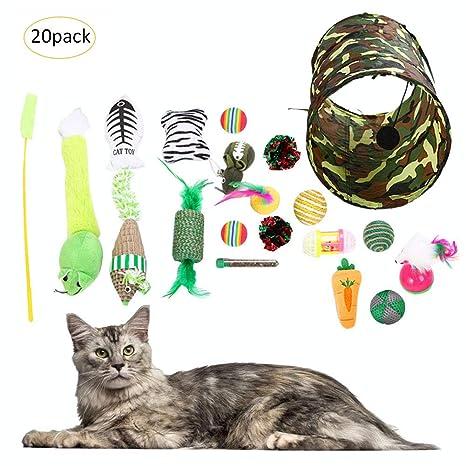 Sue Supply 20 juguetes para gatos, juguetes para gatitos, 2 formas de túnel,