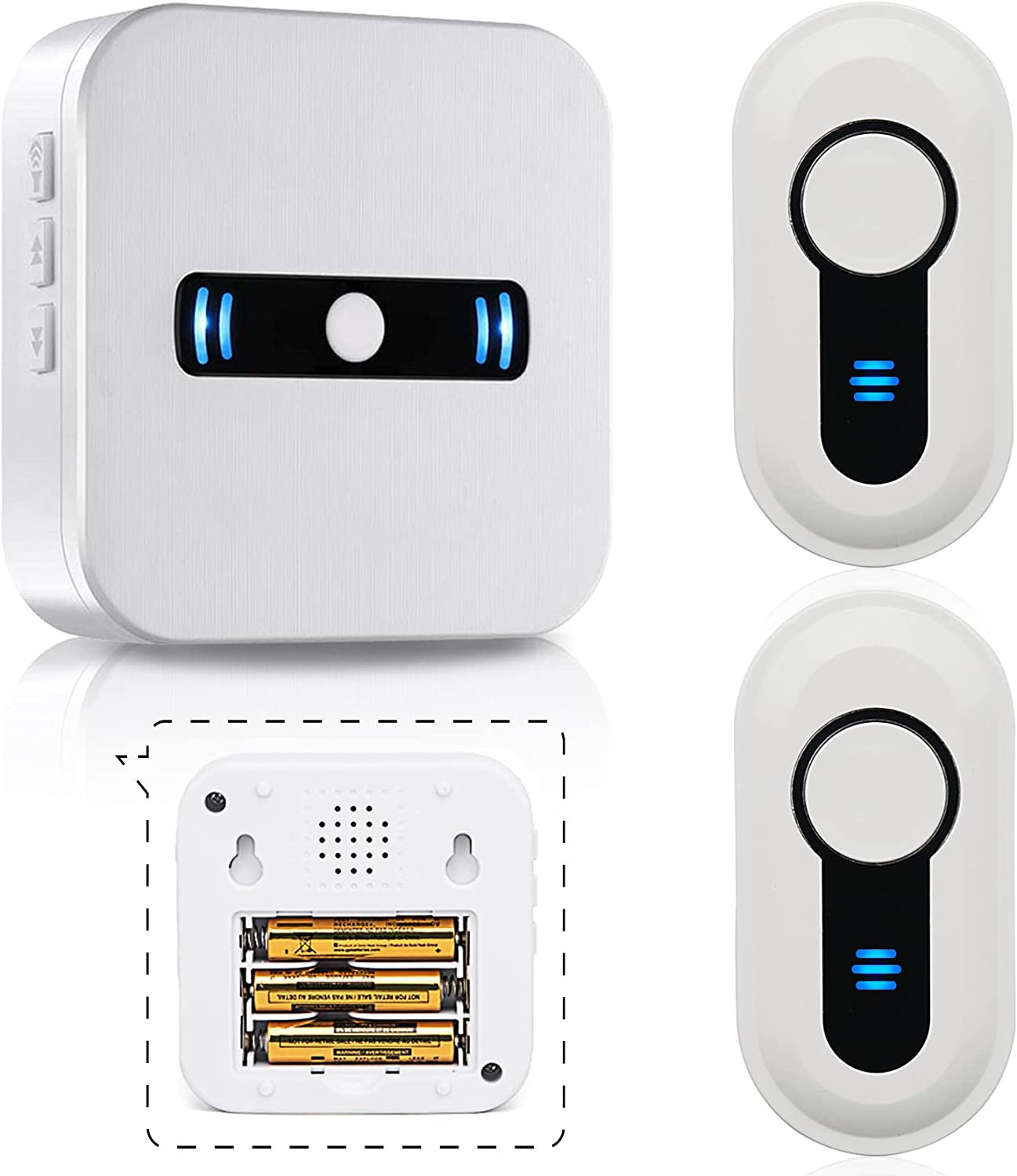 HUWOO Wireless Doorbell for Home Business Store Office,Battery Operated Door Bell Chime with 1 Portable Receiver 2 Waterproof Push Buttons,Over 1000 feet Range,55 Chimes,5 Volume Levels and LED Flash