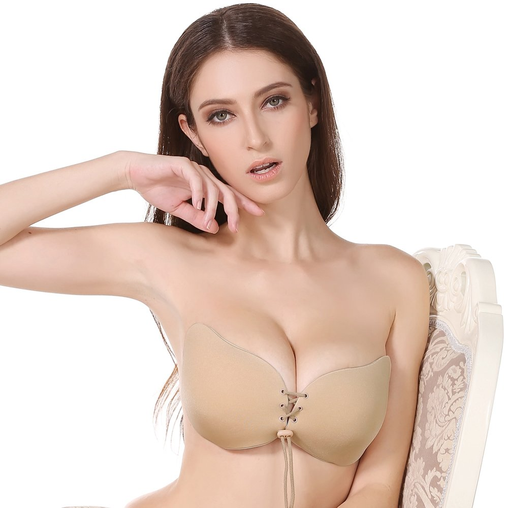 Desirelove Invisible Adhesive Bra 1and 2 Pack Strapless Push-up with Drawstring Silicone Bras