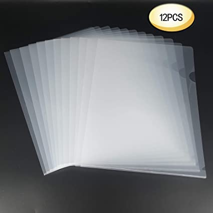L-Type Plastic Folder Safe Project Pockets Transparent Clear Document  Folder 12pcs for A4 paperPlastic Paper Jacket Sleeves in Assorted Project