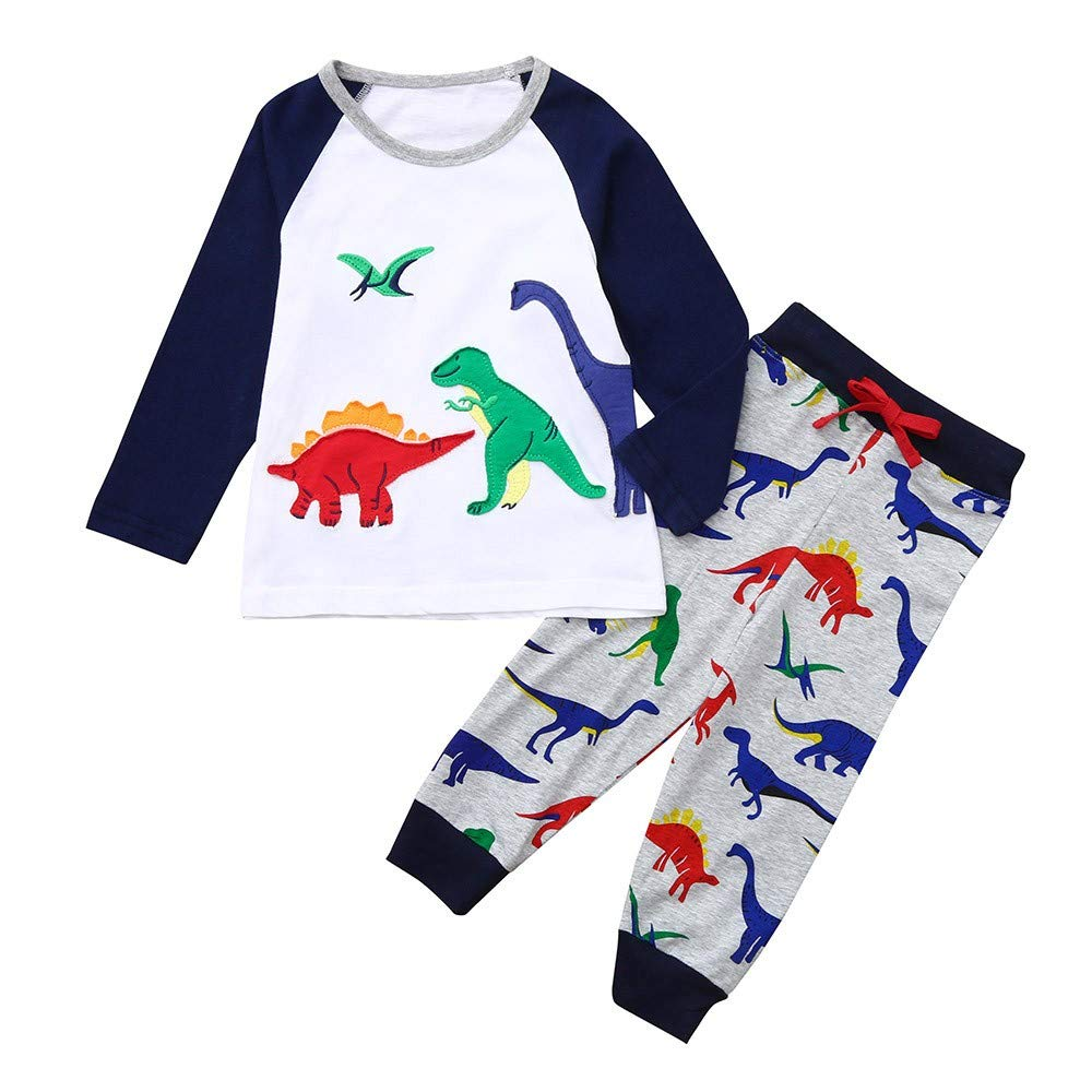 Kaiki Baby Boys GILR Pyjamas Set, Toddler Long Sleeve Cartoon Dinosaur Print Tops+ Pants Sleepwear Outfits for 1-7 Years Old