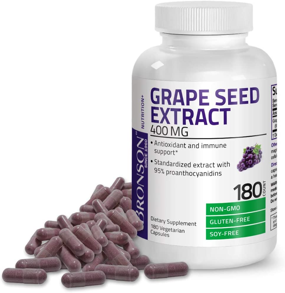 Bronson Grape Seed Extract 400 mg - Antioxidant & Immune Support - Standardized Extract with 95% Proanthocyanidins- Non GMO, 180 Vegetarian Capsules