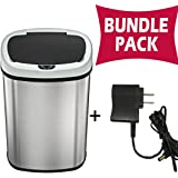 SensorCan Automatic Touchless Sensor Trash Can with AC Adapter - Battery free - Stainless Steel - 13 Gallon / 49 Liter - Oval Shape