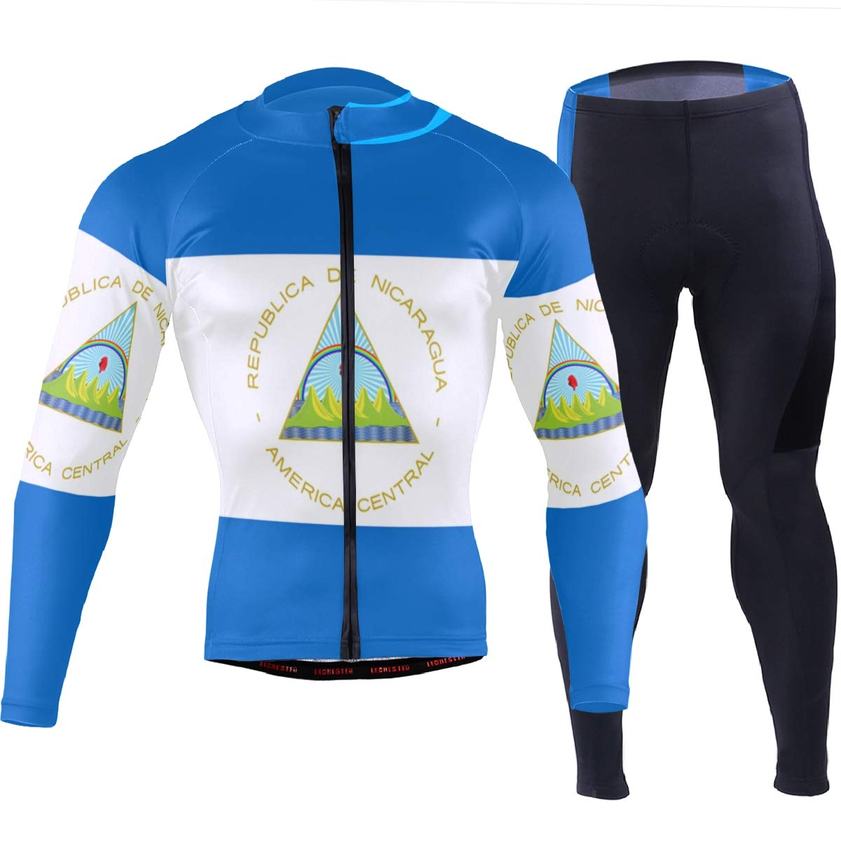 CHINEIN Men's Cycling Jersey Long Sleeve with 3 Rear Pockets Suit Nicaragua Flag by CHINEIN