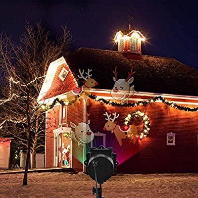 NAKO Christmas Projector Light, 16 Exclusive Design Slides IP65 Waterproof Landscape Motion Projector Lights with Remote Control, 32ft Power Cable for Decoration Lighting on Halloween Holiday Party