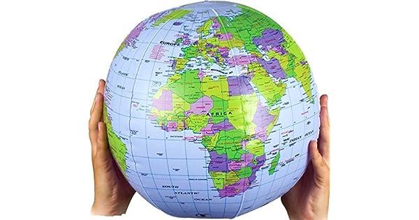 Amazon.com: Pelota hinchable de globo terráqueo tierra mapa ...