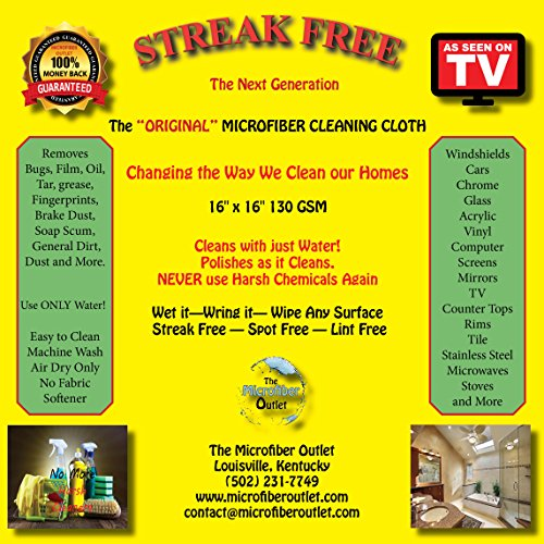 3 White Individually Wrapped 'Original' Streak Free Microfiber All / Multi Purpose Cleaning / Detail Lint Free Miracle Cloths Plus 1 FREE GIFT