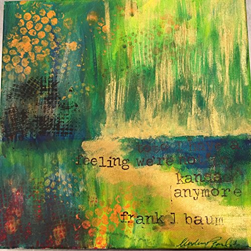Emerald City Mixed Media Framed 12'' x 12'' Painting by Book Pearls Creations