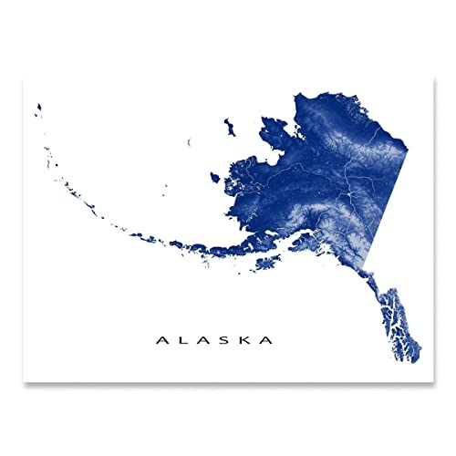 image about Printable Maps of Alaska named : Alaska Map Artwork Print, AK Region Define, United states