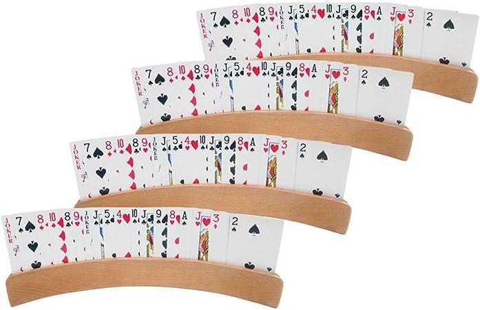 Soporte para naipes, estante organizador de bandejas de póker curvo de madera, estante de exhibición de naipes con 4 ranuras, para todas las edades, para cualquier juego de cartas, paquete de 4: