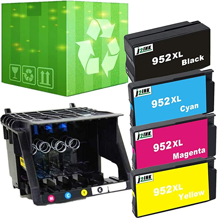 J2INK 1 Pack 952 Printhead Plus 4 Pack 952XL Ink Cartridge for Officejet pro 8710 8715 8720 8725 8730