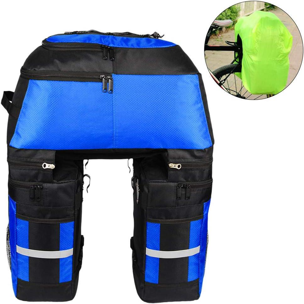 Lixada - Bolsa multifunción para equipaje de bicicleta con protección contra la lluvia, 3 en 1, resistente a la rotura 70 L grandes bolsas para el asiento trasero