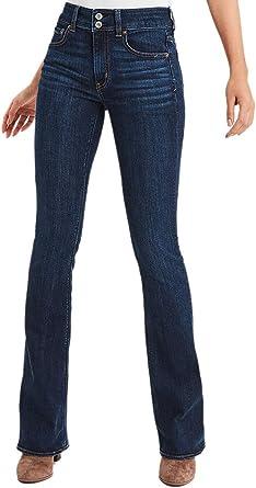 Amazon Com American Eagle Womens 1647517 Pantalones Vaqueros De Talle Alto Enjuague De Agua Fria 12 Corto Clothing