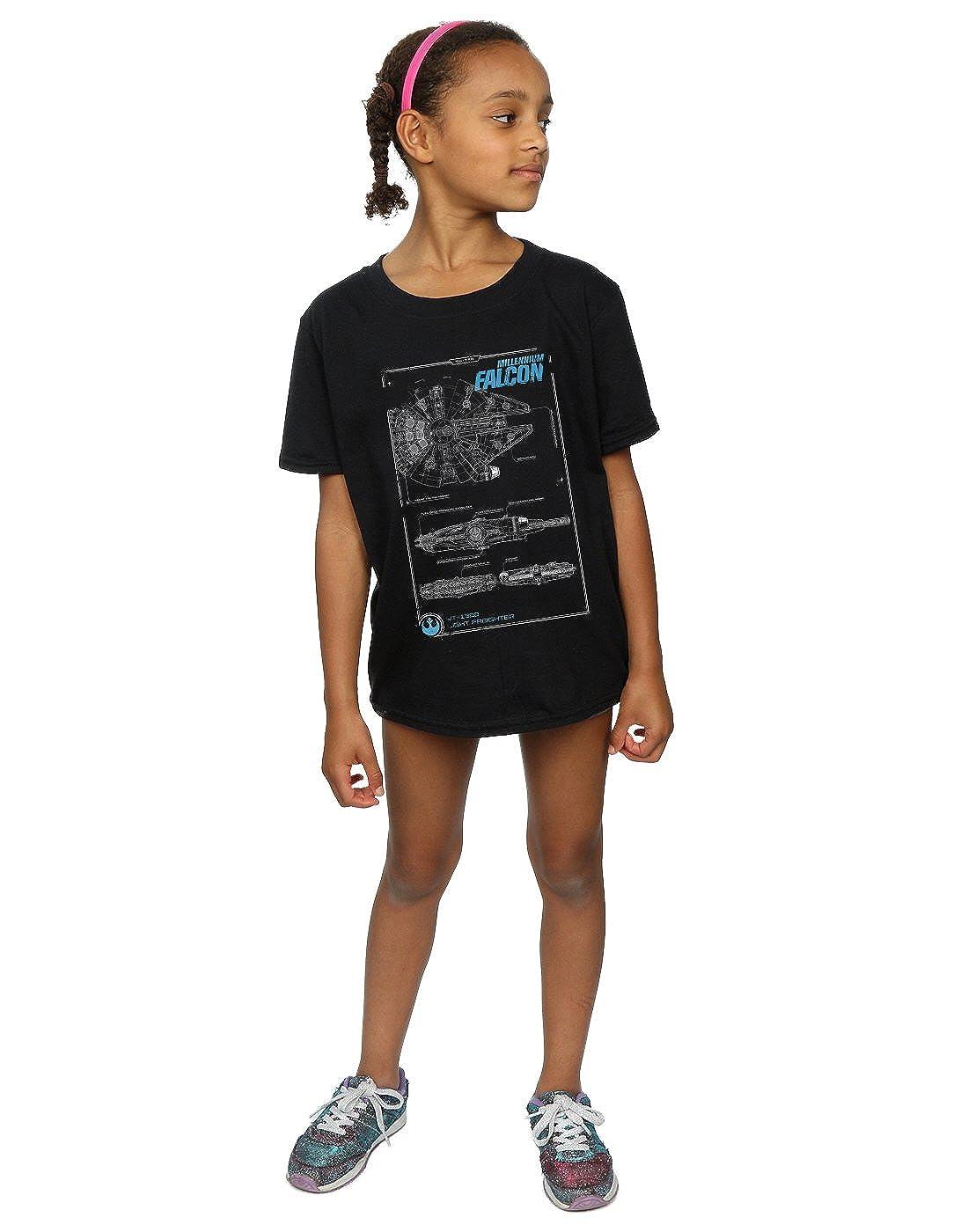 Star Wars niñas Force Awakens Millenium Falcon Manual Camiseta: Amazon.es: Ropa y accesorios