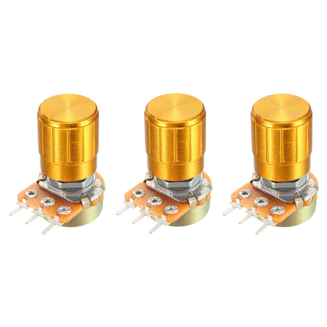 uxcell 3 Pcs 10K Ohm Variable Resistors Single Turn Rotary Carbon Film Taper Potentiometer with Knob