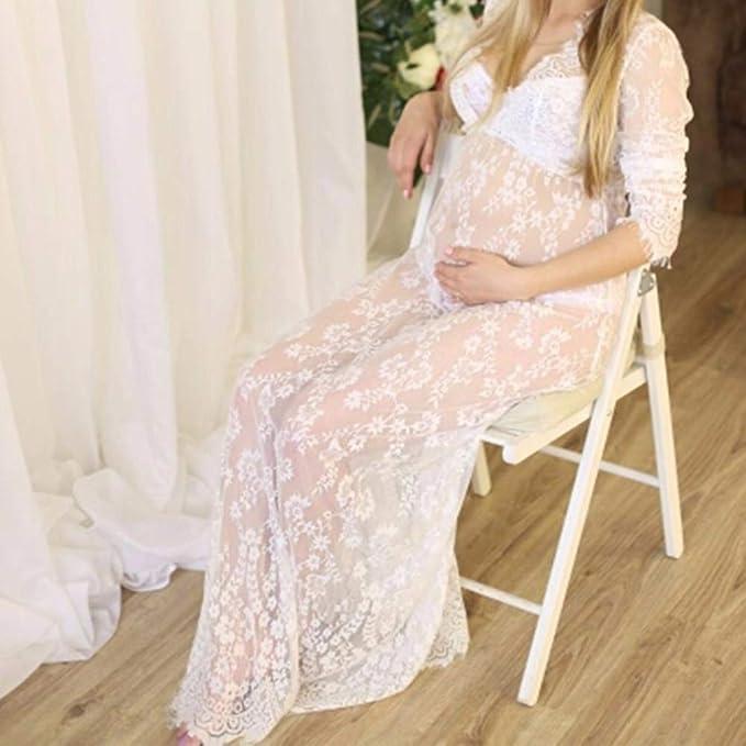 Amazoncom Women Sexy Deep V Neck Lace Maternity Dress See