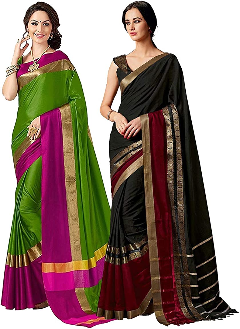 Elina fashion Pack of Two Sarees for Indian Women Cotton Art Silk Printed Weaving Border Saree