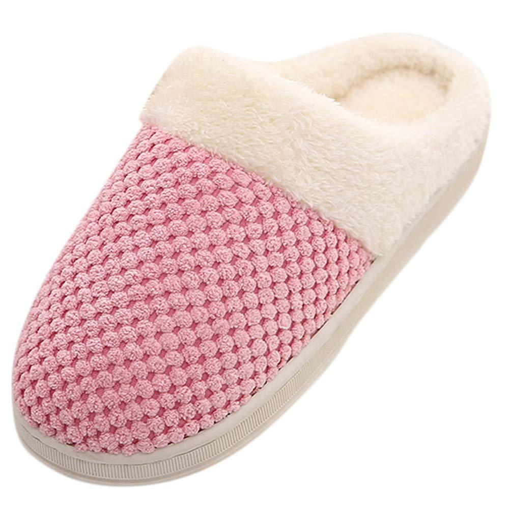 Women Plush Foam Slippers Men Slip-on House Shoes Indoor Outdoor Anti-Skid Pressure Relief Comfortable & Washable (Pink2-Women, US 8-8.5)