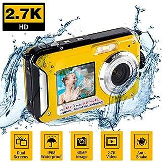 Underwater Waterproof Digital Camera for Snorkeling FHD 2.7K 48MP Selfie Dual Screen Video Camcorder Point & Shoot Digital Camera