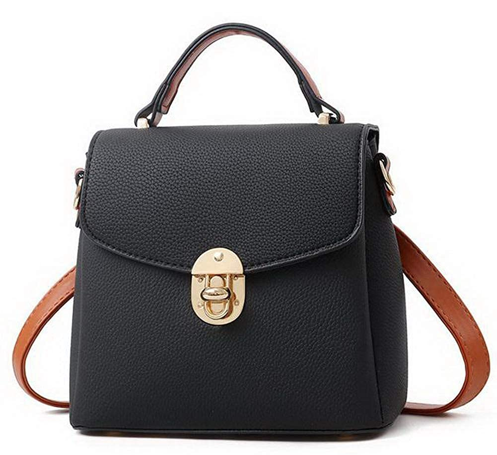 Black WeiPoot Women's Tote Bags Casual TwoToned Shopping Pu Crossbody Bags,EGHBG182146