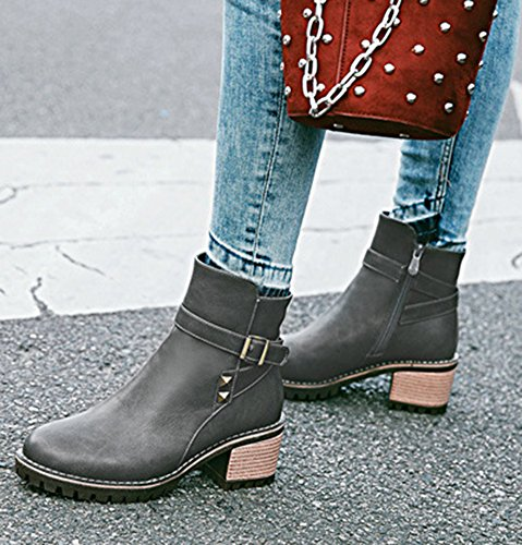 Aisun Womens Studded Buckle Strap Inside Zip Up Round Toe Booties Mid Block Heel Ankle Boots With Zipper Gray 3m0A5XP