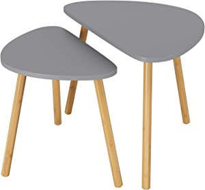 HOMFA Nesting Coffee End Tables Modern Decor Side Table for Home and Office (Gray, Set of 2)