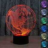 WONFAST® 3D World American Globe Optical Illusion Lighting 7 Colors Change Touch Switch LED Table Lamp Children's Night Light for Home Decoration Household Bedroom