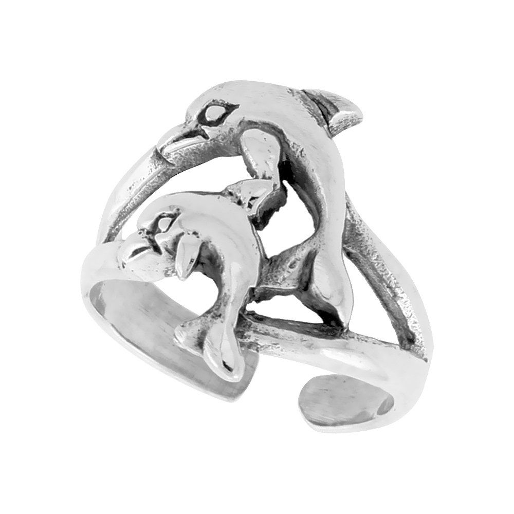 Sterling Silver Adjustable Toe Rings for Women and Girls Open Bottom 5/8 inch Sabrina Silver
