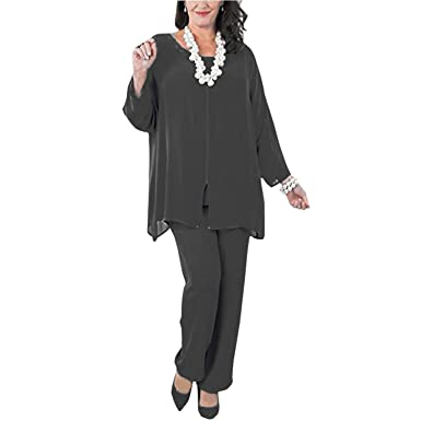 9d55a49d335b6 BridalAffair Women s Chiffon Long Sleeves Mother The Bride Pant Suits Plus  Size 3 Pieces