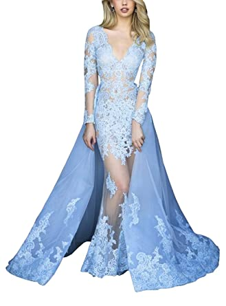 Detachable Train Formal Dresses Designer Lace Sheer Full Body V-Neck Prom Dress Party Evening Dress at Amazon Womens Clothing store: