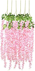 Luyue Wisteria Artificial Flowers 4.6ft Hanging Flowers Garland Vine for Wedding Party Home Decoration 6 Pack (Pink)