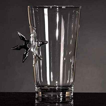 The Original Pint Glass Embedded with a Ninja Star