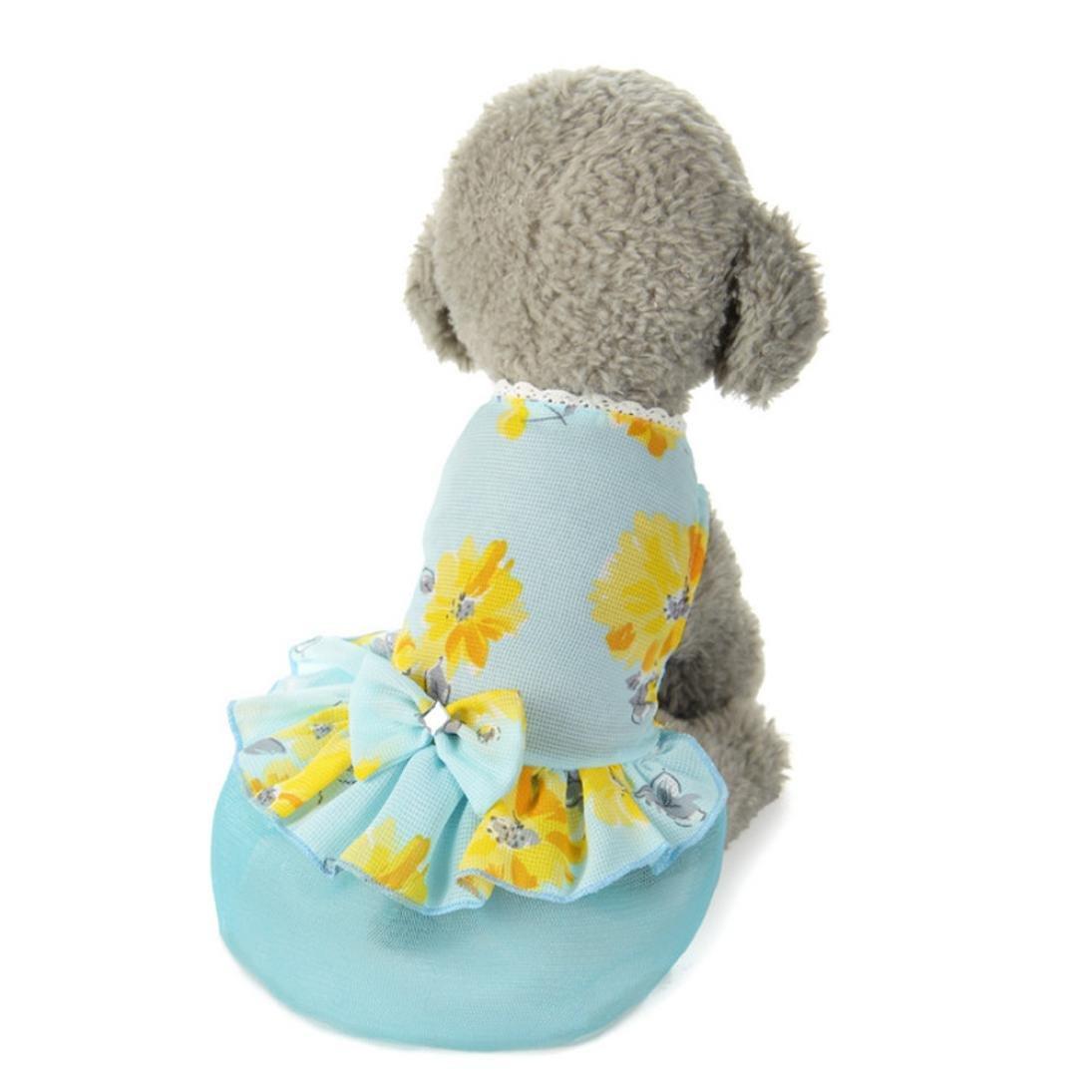 Dog Bow Tutu Dress,Pet Lace Skirt Puppy Costume Princess Clothes Apparel (XS, Blue)