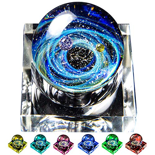 (Pavaruni Original Galaxy LED Decoration Display, Universe Glass, Space Cosmos Design,Birthday Art Japan Handmade Craftsman (Apollo(Display with LED 7 Colors)))