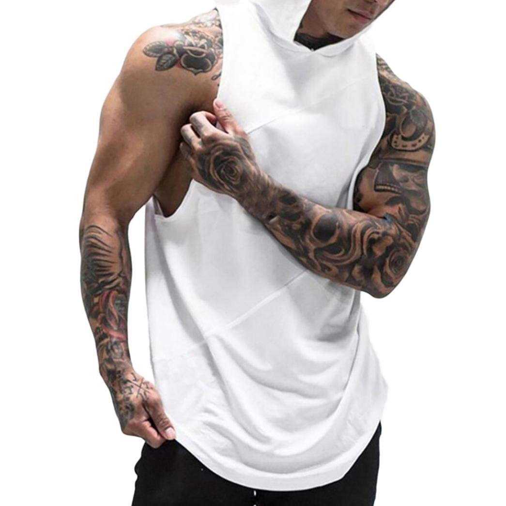 kingf Men's Fitness Muscle Hoodie Tank Top Fast Dry Mesh Sleeveless Vest Top kingfansion Men Top