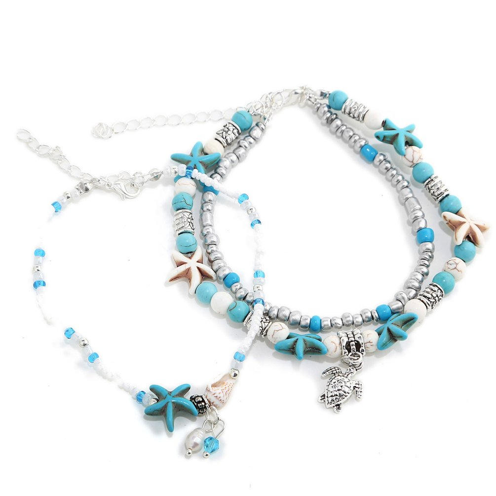 XIAOLI 2 Pcs Starfish Turquoise Ankle Beach Wedding Barefoot Sandals Bracelet Anklets qianziqianse