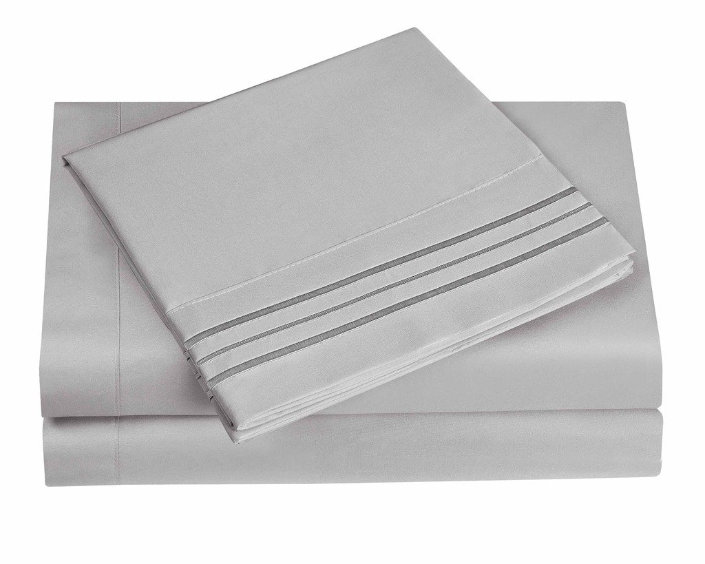 3 Line Microfiber 4 Piece Bed Sheet Set