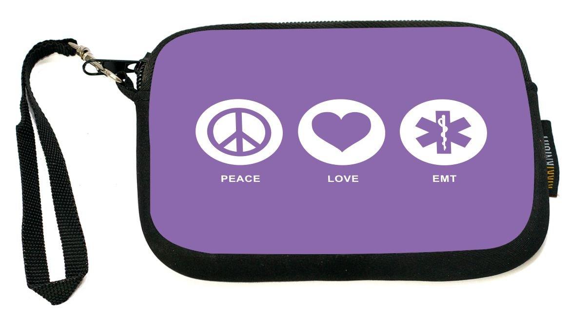 UKBK Peace Love EMT Violet Color Neoprene Clutch Wristlet with Safety Closure - Ideal case for Camera, Universal Cell Phone Case etc.