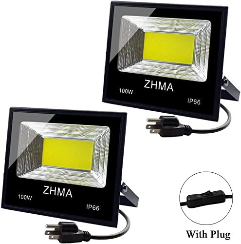 ZHMA 2 Pack 100W LED Flood Light Outdoor with Plug, 9000lm Super Bright Work Lights, 6500K Security White Light, IP65 Waterproof Floodlight Landscape Wall Lamp for Garage, Yard, Garden, Court Lighting