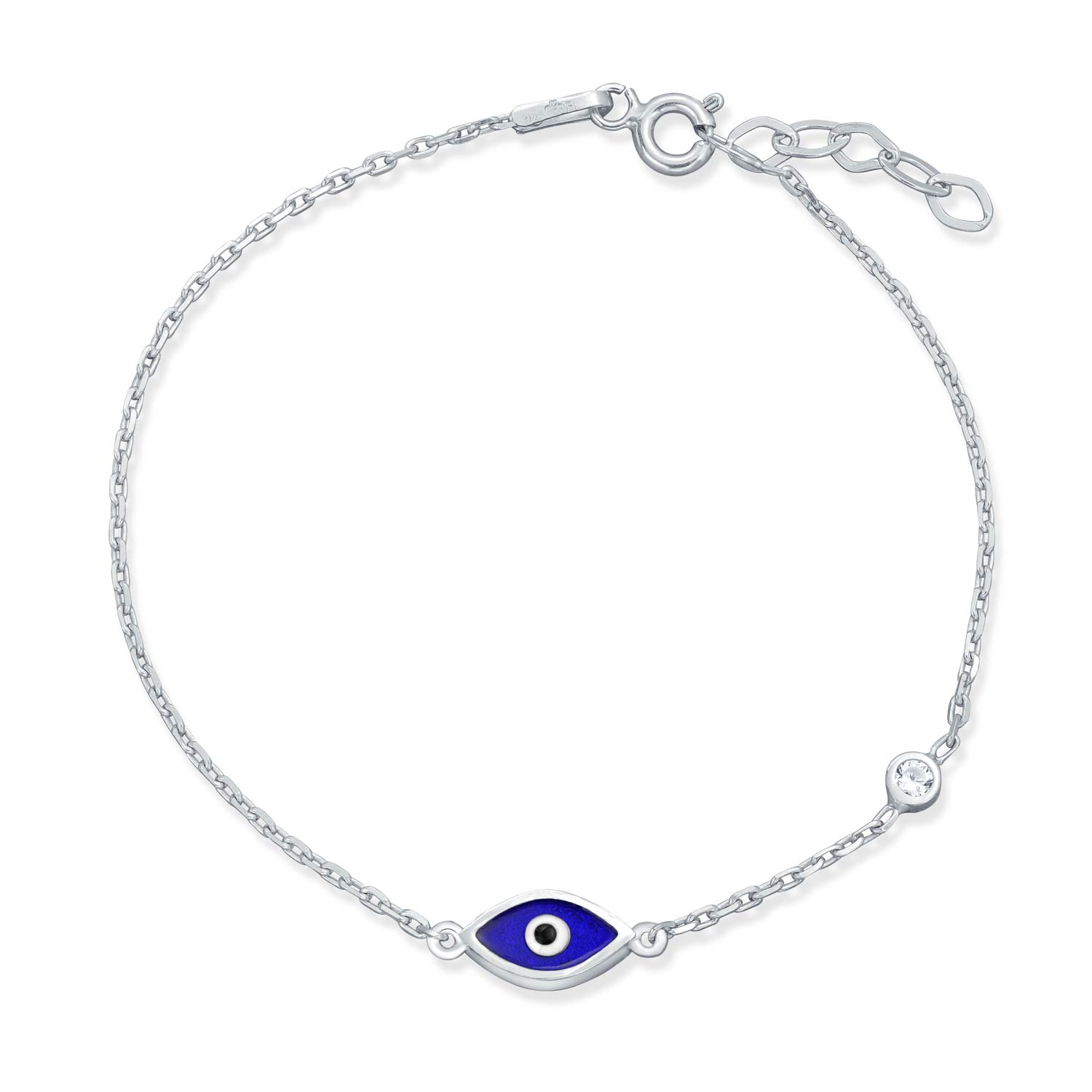 Bling Jewelry Navy Blue Evil Eye Sterling Silver CZ Bracelet 7 Inch IY-OC5519
