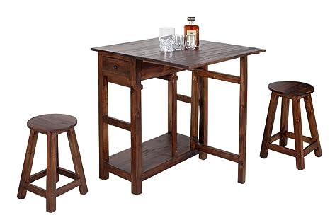 Hemingway tavolo bar con sgabelli in legno di mogano shabby chic