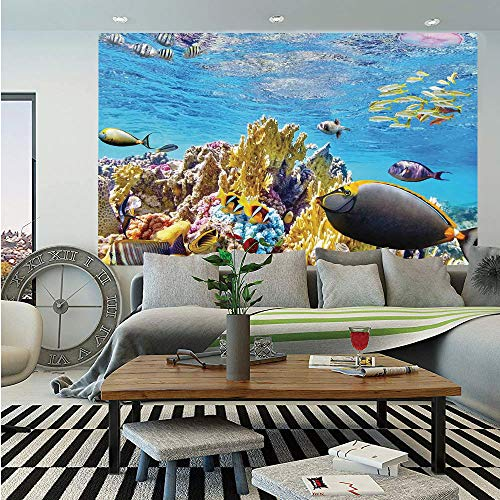 Ocean Wall Mural,Tropical Exotic Coral Reefs Fish School Jellyfish Underwater Wild Marine Life Theme,Self-Adhesive Large Wallpaper for Home Decor 55x78 inches,Multicolor