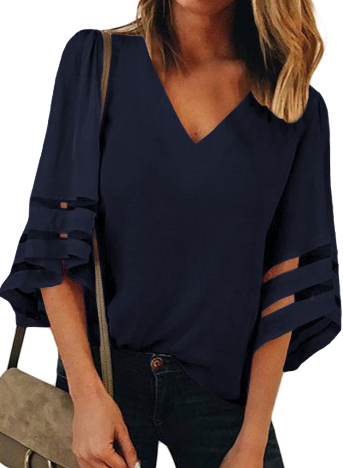 LOSRLY Women V Neck 3/4 Bell Sleeve Lace Patchwork Casual Loose Fit Blouses and Tops-NavyL 12 14
