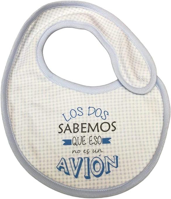 BABERO ALGODON FRASE Los dos sabemos que eso no es un avion. MODELO BLANCO Y AZUL: Amazon.es: Bebé