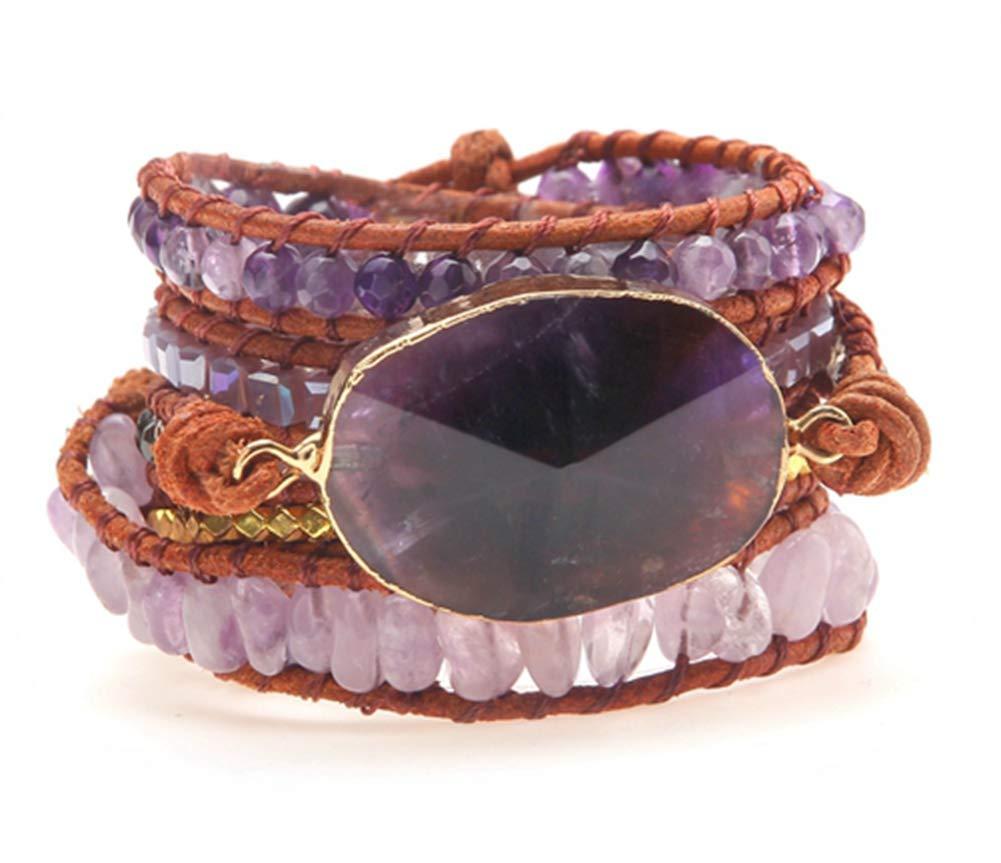 E-Star Designs Leather Amethyst Druzy Boho 5 Wrap Purple Unique Bead Bracelet Jewelry for Women Girl, Gift Set for Women